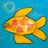 Peixes amarelos, pintando Fotografia de Stock Royalty Free