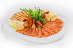 Peixes Assorted alimento do prato Imagem de Stock Royalty Free