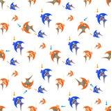 Peixes azuis e alaranjados em um fundo branco ilustração do vetor