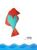 Peixes azuis vermelhos de papel Imagem de Stock