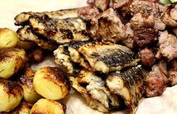 Peixes, batatas e carne fritados no carvão vegetal fotos de stock royalty free