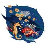 Peixes bonitos ajustados, ilustrações do vetor ilustração do vetor