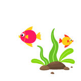 Peixes bonitos dos desenhos animados com plantas e pedras de mar Imagens de Stock