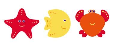 Peixes bonitos dos desenhos animados do vetor, caranguejo e estrela do mar, ícones ajustados Fotografia de Stock Royalty Free