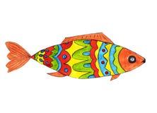 Peixes brilhantes em cores vermelhas, azuis, amarelas, verdes ilustração royalty free