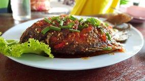 Peixes com alface de Chili Sauce Fotos de Stock
