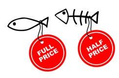 Peixes - completamente e meio preço Fotografia de Stock Royalty Free