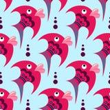 Peixes cor-de-rosa dos desenhos animados em um fundo azul ilustração do vetor
