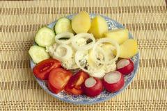 Peixes cozidos apetitosos com vegetais Imagens de Stock