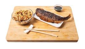 Peixes cozinhados com arroz imagem de stock