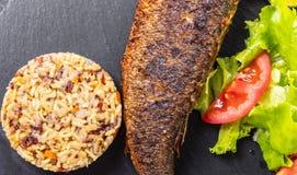 Peixes cozinhados com arroz e vegetais fotografia de stock