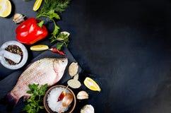 Peixes crus e ingredientes para cozinhar no fundo escuro Imagens de Stock