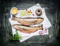 Peixes crus no Livro Branco com os ingredientes para cozinhar, vista superior Dois peixes inteiros do carvão animal Imagem de Stock