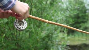 Peixes da captura fora no lago video estoque