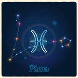 Peixes da constelação do vetor com sinal do zodíaco ilustração stock