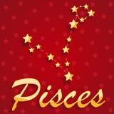 Peixes da constelação sobre o fundo estrelado vermelho imagem de stock