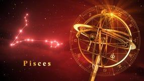 Peixes da esfera Armillary e da constelação sobre o fundo vermelho ilustração do vetor