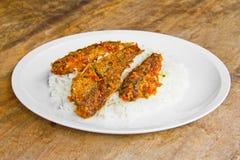 Peixes da fritada com arroz cozinhado Foto de Stock
