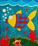 Peixes da pintura do ` s da criança Fotografia de Stock Royalty Free