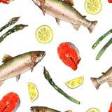 Peixes da truta de mar com limão e aspargo Ilustração feito a mão da pintura da aquarela em um fundo da arte do Livro Branco Fotos de Stock Royalty Free