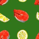 Peixes da truta de mar com limão, ilustração da pintura da aquarela em um fundo da arte do Livro Branco Imagem de Stock Royalty Free