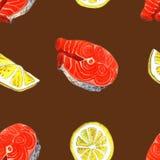Peixes da truta de mar com limão Ilustração feito a mão da pintura da aquarela em um fundo da arte do Livro Branco Fotos de Stock