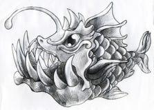 Peixes das águas profundas da fantasia - esboço do lápis Fotografia de Stock Royalty Free