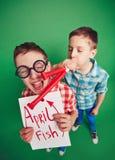 Peixes de abril Fotografia de Stock Royalty Free