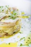 Peixes de bacalhau cozidos forno com batatas Fotografia de Stock