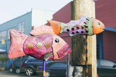 Peixes de madeira Imagens de Stock
