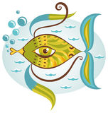 Peixes de mar dos desenhos animados Imagens de Stock Royalty Free