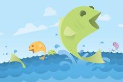 Peixes de salto de Coloful na água do oceano - ilustração Fotos de Stock