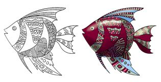 Peixes de Zentangle Imagens de Stock Royalty Free