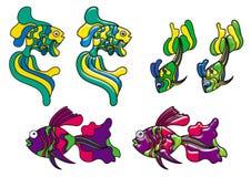 Peixes decorativos no estilo do vitral ilustração do vetor
