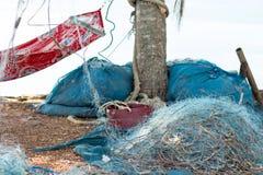 Peixes do achado da rede do pescador e caranguejo da captura Imagens de Stock