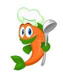 Peixes do cozinheiro dos desenhos animados Foto de Stock