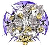 Peixes do crânio da tatuagem ilustração royalty free