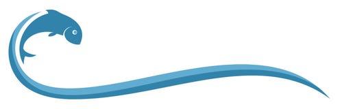 Peixes do logotipo com onda ilustração stock