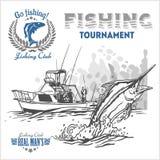Peixes do Marline nas ondas no fundo retro do grunge - o logotipo da criação, emblema, pescando bate Foto de Stock Royalty Free