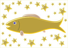 Peixes do ouro com as estrelas Fotos de Stock Royalty Free