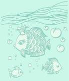 Peixes do ouro com uma coroa no ambiente do mar Foto de Stock Royalty Free