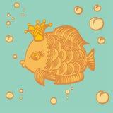 Peixes do ouro com uma coroa no mar Fotografia de Stock Royalty Free