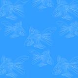 peixes do teste padrão em um laço azul do fundo Foto de Stock Royalty Free