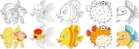 Peixes dos desenhos animados ajustados ilustração royalty free