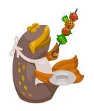 Peixes dos desenhos animados com Shish-Kabob Fotografia de Stock