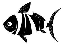 Peixes dos desenhos animados preto e branco Fotografia de Stock Royalty Free