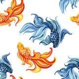 Peixes dourados do asiático da aquarela