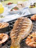 Peixes e camarões que cozinham em uma grade Fotos de Stock Royalty Free