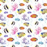 Peixes e concha do mar Repetindo o teste padrão sem emenda watercolor Imagem de Stock Royalty Free