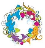 Peixes e floral Imagens de Stock Royalty Free